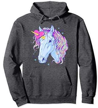 Rainbow Sparkle Heart Unicorn Head Graphic Hoodie