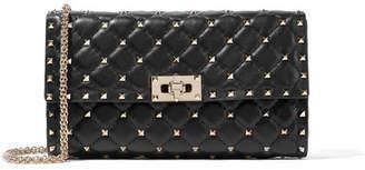 Valentino The Rockstud Spike Quilted Leather Shoulder Bag - Black