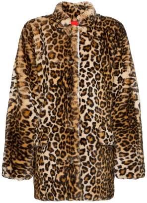 Sandy Liang Montague collared leopard print faux fur coat