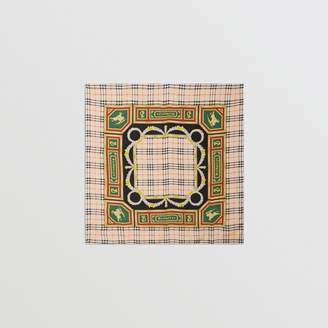 Burberry Check Archive Scarf Print Silk Square Scarf, Yellow