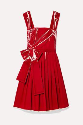 Prada Printed Pleated Cotton-poplin Dress - Red