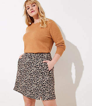 LOFT Plus Leopard Jacquard Pocket Skirt