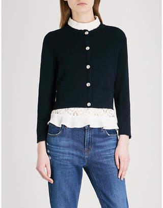 Claudie Pierlot Scalloped cotton-blend cardigan