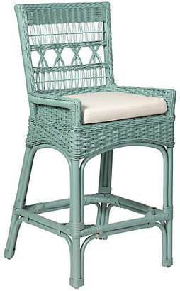 One Kings Lane Bar Harbor Wicker Counter Stool - Sky Blue