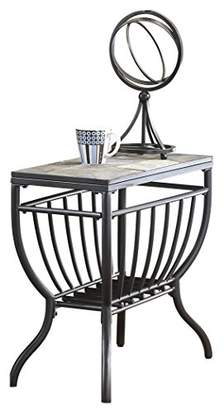 Signature Design by Ashley Ashley Furniture Signature Design - Antigo Chair Side End Table - Contemporary - Slate Top with Metal Bottom - Black