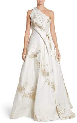 Rubin Singer One-Shoulder Drape Metallic Jacquard Gown