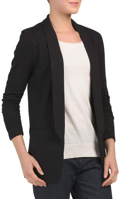 Juniors Ponte Blazer With Cinched Sleeves