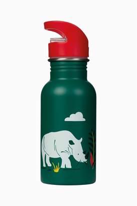 Frugi Boys Water Bottle In Rhino Print Design - Green