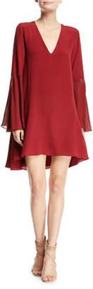 Haute Hippie Manhattan V-Neck Bell-Sleeve A-Line Dress