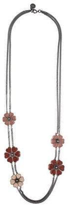 Stella McCartney Enamel Flower Double Strand Necklace