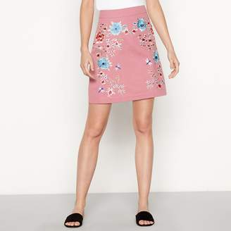 Red Herring Light Pink Floral Embroidered Cotton Mini Skirt