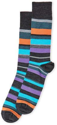 Lorenzo Uomo Wool Striped Crew Socks