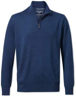 Charles Tyrwhitt Mid Blue Merino Wool Zip Neck Sweater Size Medium