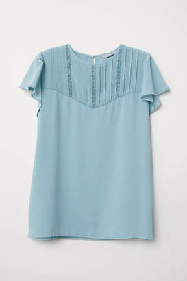 H&M Blouse with Pin-tucks - Turquoise