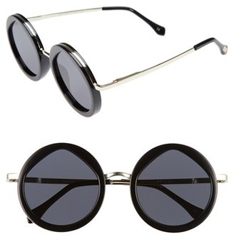 Women's Le Specs Hey Yeh 50Mm Round Sunglasses - Black/ Gold $89 thestylecure.com