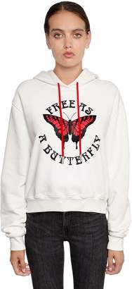 Off-White Butterfly Print Cotton Jersey Sweatshirt