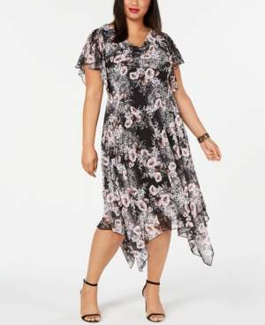 Robbie Bee Plus Size Handkerchief-Hem Midi Dress
