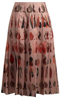 Altuzarra Sirocco Feather Print Pleated Skirt - Womens - Beige Print