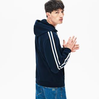 Lacoste Men's Striped-Sleeve Hooded Zip Fleece Sweatshirt