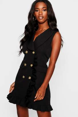 boohoo Woven Ruffle Detail Sleeveless Blazer Dress