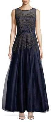 Tahari Arthur S. Levine Embroidered Lace Fit-&-Flare Gown