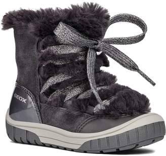 Geox Omar Lace Up Boot with Faux Fur Trim
