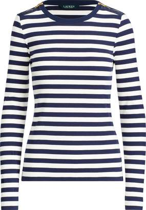 Ralph Lauren Zip-Trim Cotton-Blend Top