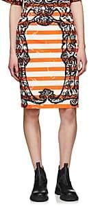 Prada Women's Mixed-Print Cotton Canvas Pencil Skirt