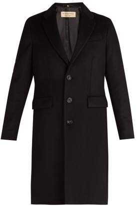 Burberry Single Breasted Wool And Cashmere Blend Overcoat - Mens - Black