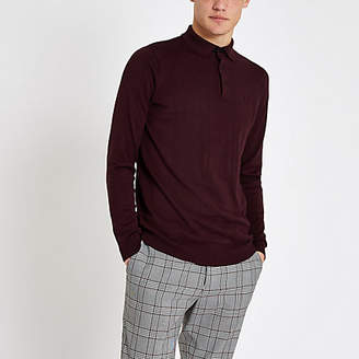 River Island Burgundy slim fit cable polo shirt