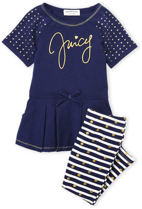 Juicy Couture Toddler Girls) Two-Piece Raglan Tunic & Stripe Leggings Set