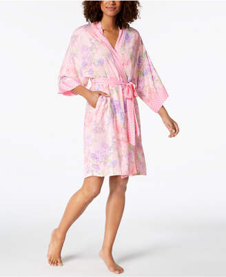Miss Elaine Printed Short Wrap Robe