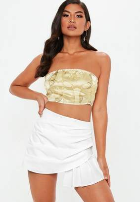Missguided White Pleated Wrap Over Skort