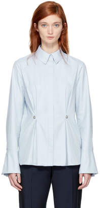 Carven Blue Studded Peplum Shirt