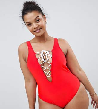 Brave Soul Plus Size Tie Front Swimsuit