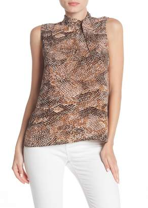 &.Layered Tie Neck Button Back Sleeveless Blouse