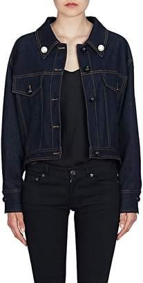 Fendi Women's Pearl Bow Denim Trucker Jacket