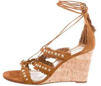 Aquatalia Suede Embellished Wedges