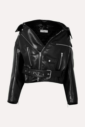 Balenciaga Swing Oversized Leather Biker Jacket - Black