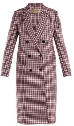 Burberry Double Breasted Checked Coat - Womens - Burgundy Multi