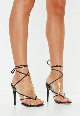 Missguided Black Clear Strap Lace Up Heeled Sandals