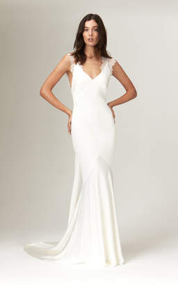 Savannah Miller Alma Deep V Satin Gown With Chantilly Lace Trim Straps