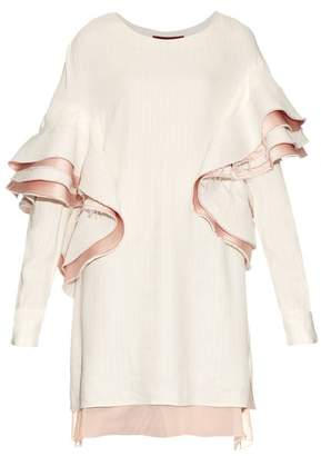 Sies Marjan - Ruffled Satin Backed Striped Top - Womens - Pink White
