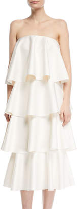 SOLACE London Frida Strapless Tiered Ruffled Cocktail Dress