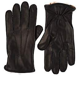 Barneys New York MEN'S FUR-LINED NAPPA LEATHER GLOVES-NAVY SIZE 9