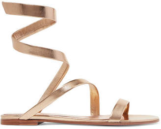 Gianvito Rossi Opera Metallic Leather Sandals - Gold