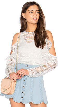 Line & Dot Daiguiri Cold Shoulder Top in White $85 thestylecure.com