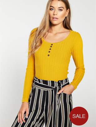 Warehouse Stitchy Button Detail Jumper - Yellow
