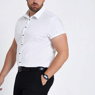River Island Big and Tall white poplin slim fit shirt
