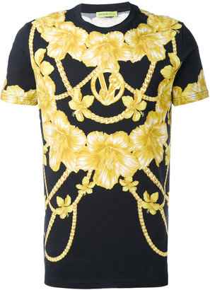 Versace Jeans chains and flowers printed T-shirt $172.95 thestylecure.com